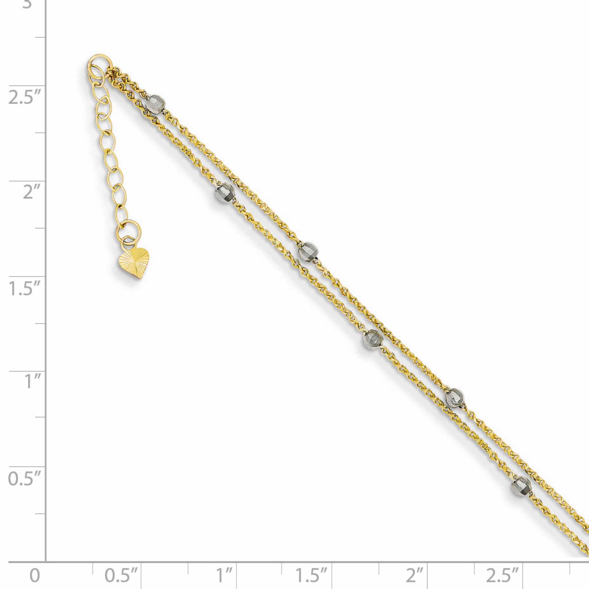 14K Two Tone Gold Mirror Bead Anklet