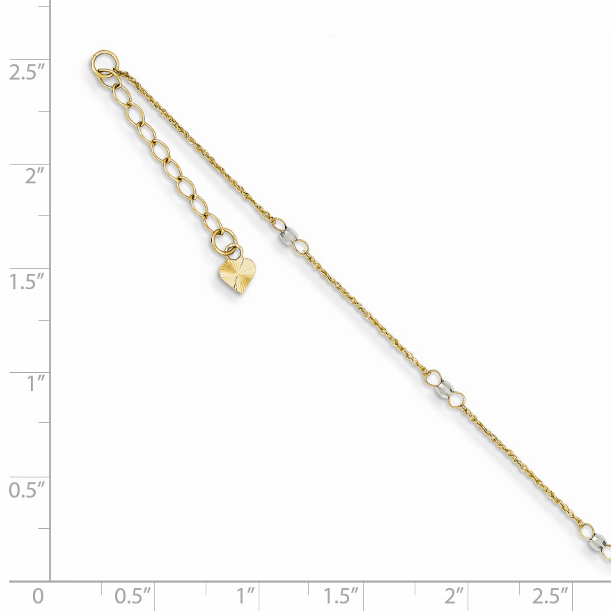 14K Two Tone Gold 9in 2 Stand Spiga Mirror Beads w// 1in Ext Anklet