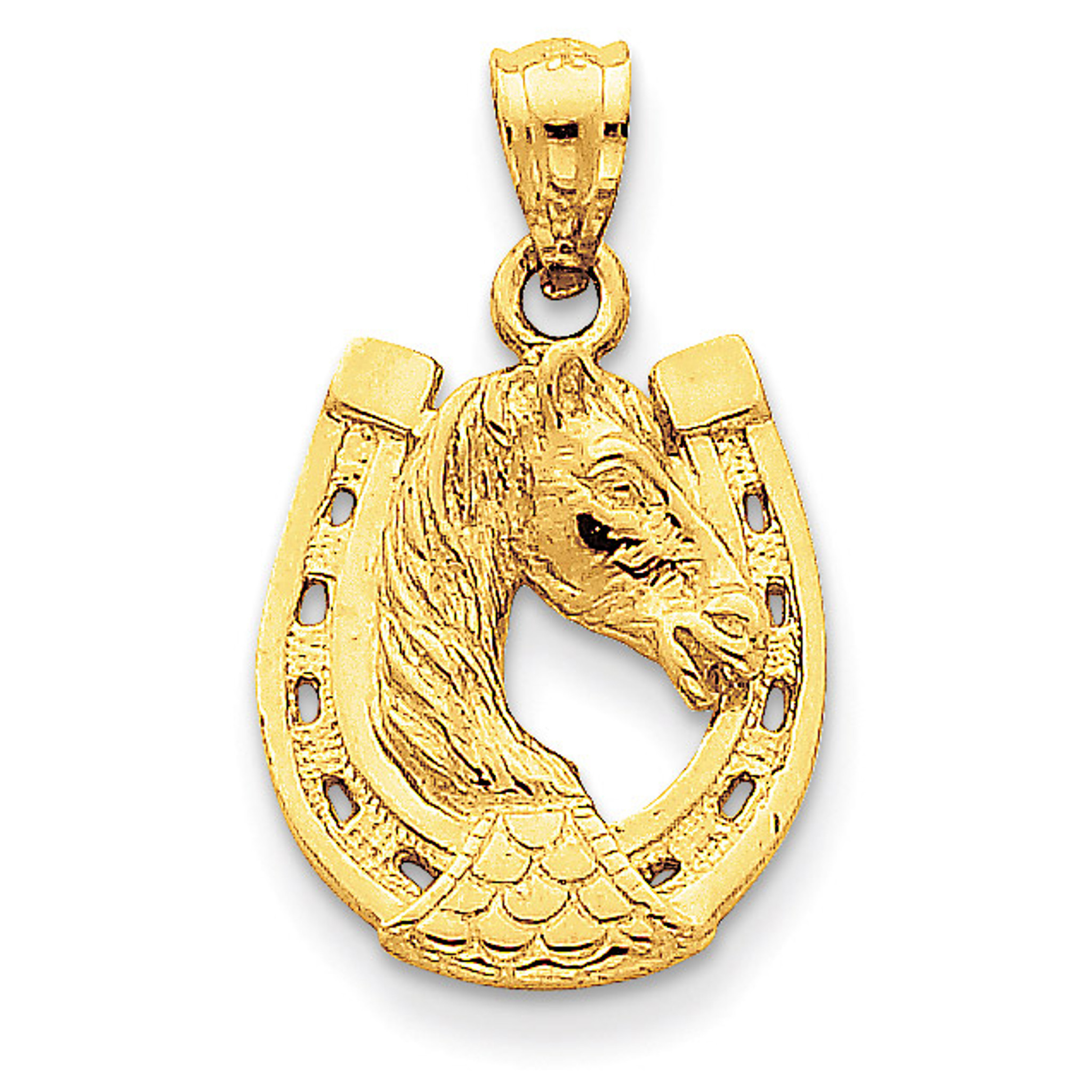 14k Yellow Gold Solid Polished Horse Head in Horseshoe Pendant