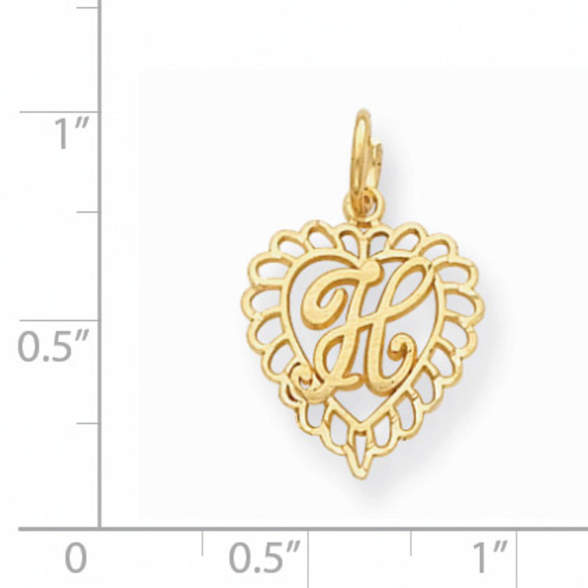 14K Yellow Gold Initial H Pendant C569H