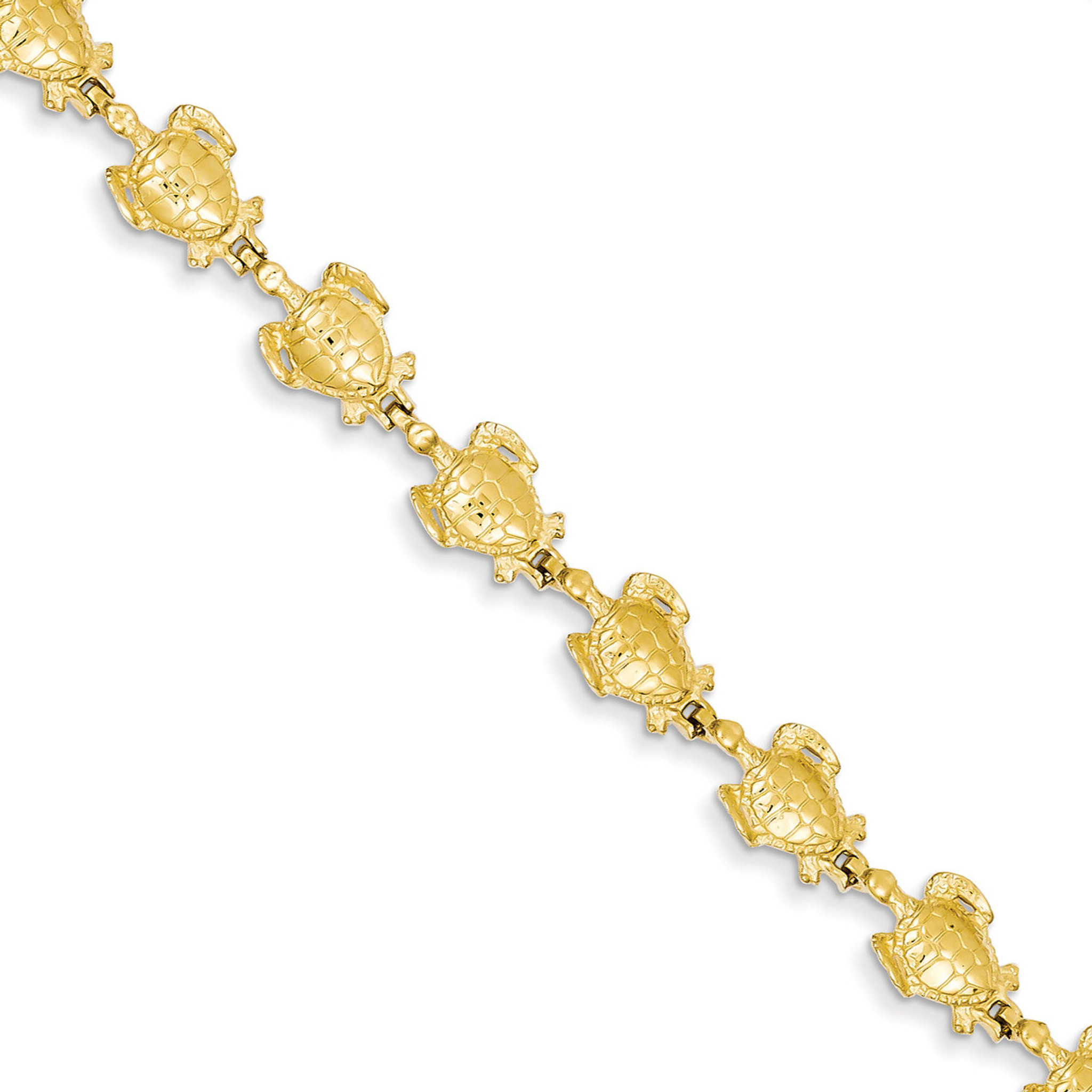 14K Yellow Gold 7in Polished /& Textured Turtle Bracelet
