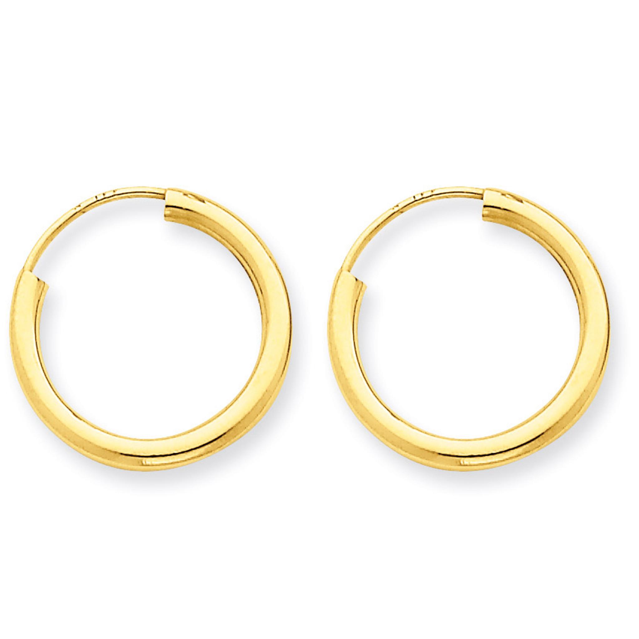 14k Polished Round Endless 2mm Hoop Earrings