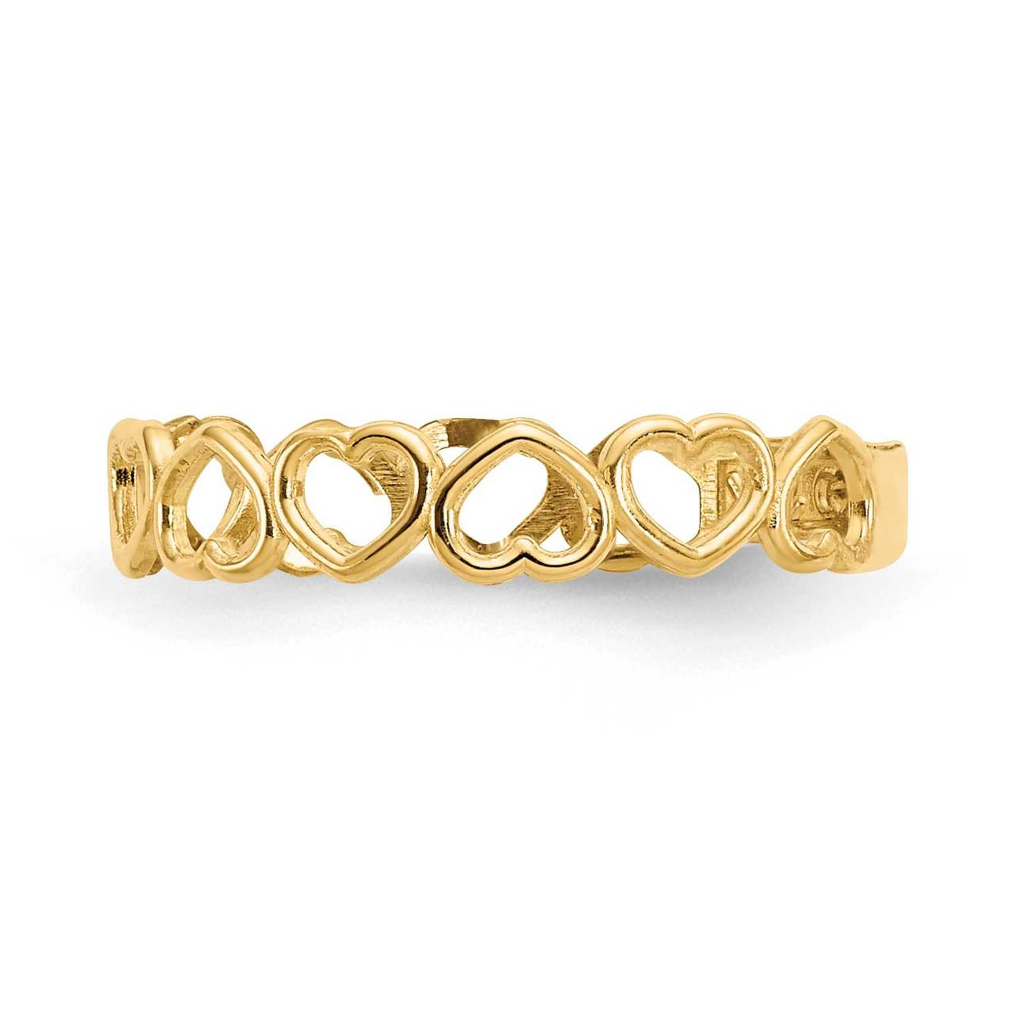 Solid 14k Yellow Gold Open Hearts Toe Ring 4mm