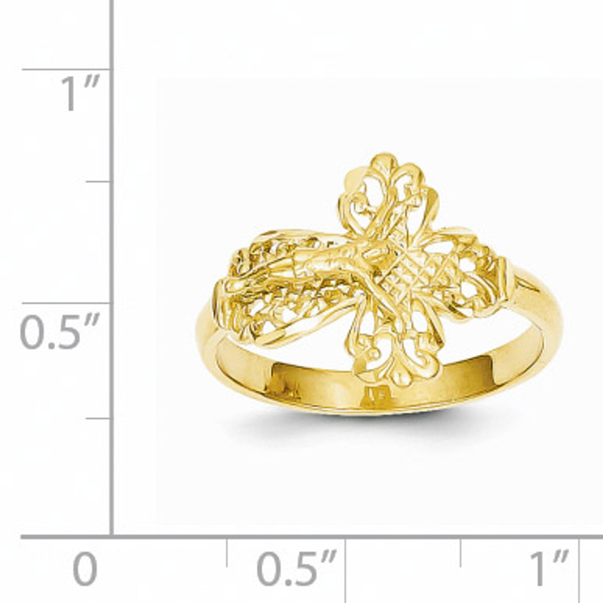 14k Diamond-Cut Crucifix Ring