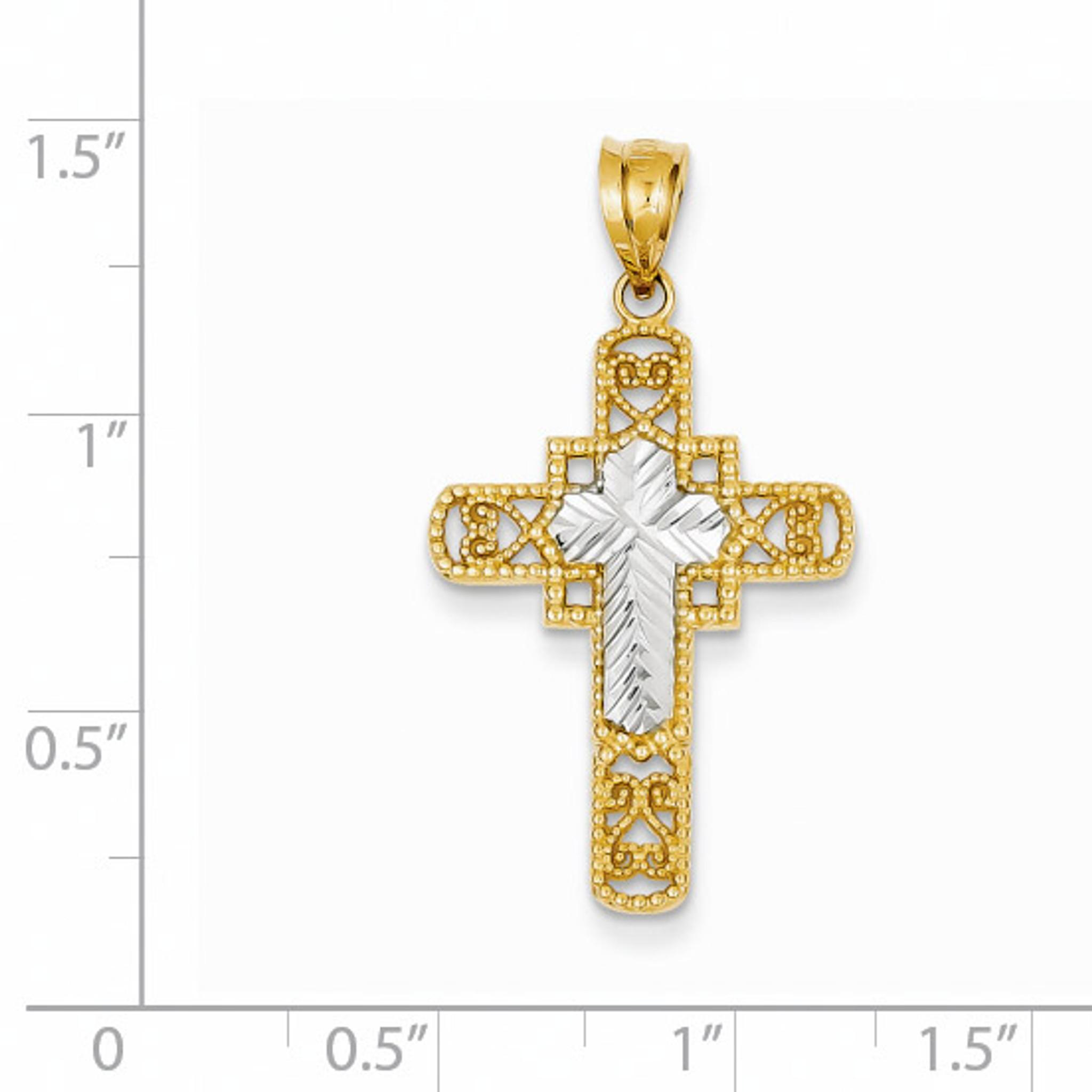 14k Two-tone Yellow /& Rhodium Diamond-cut Cross Pendant