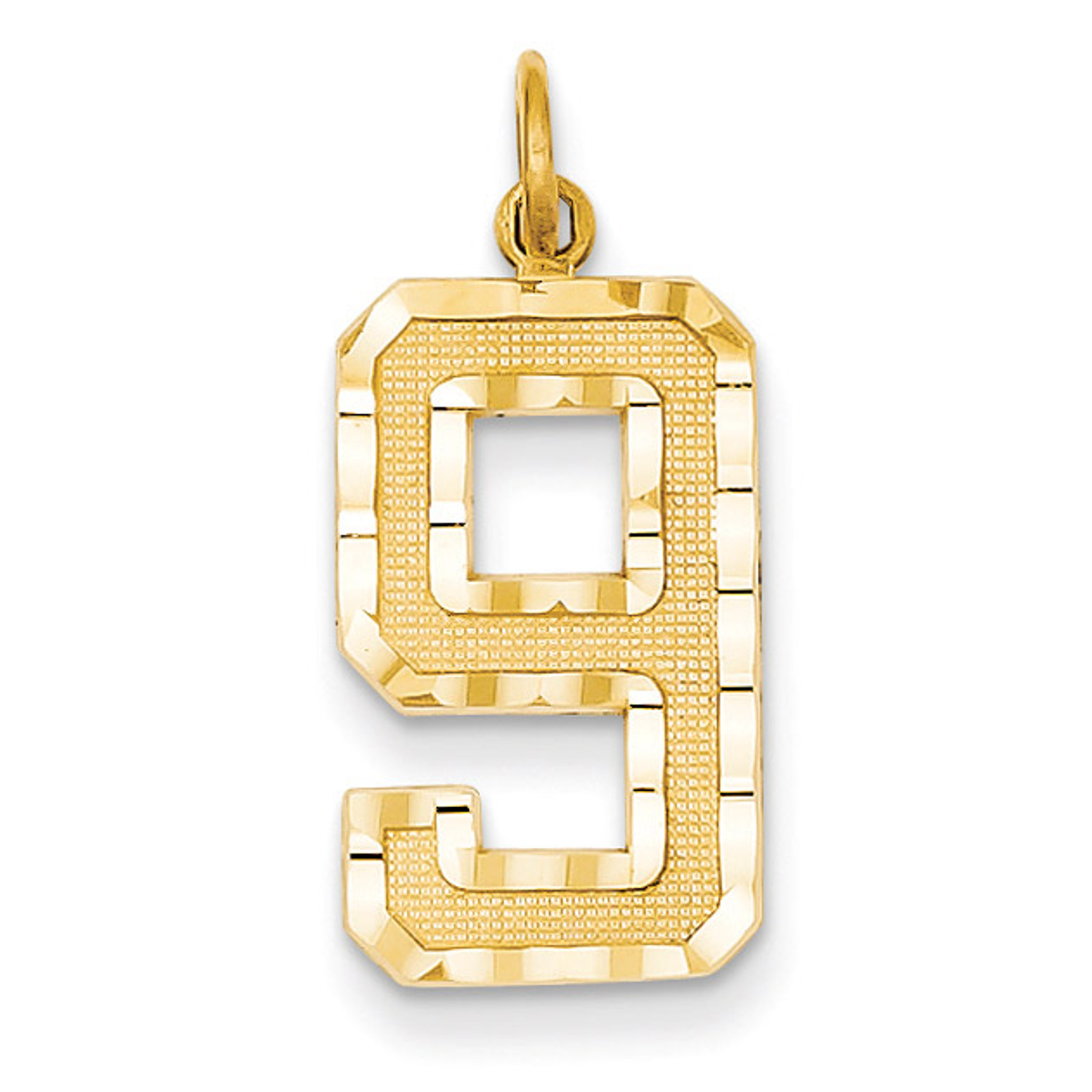 14k Yellow Gold Casted Medium Diamond-cut Number 9 Charm