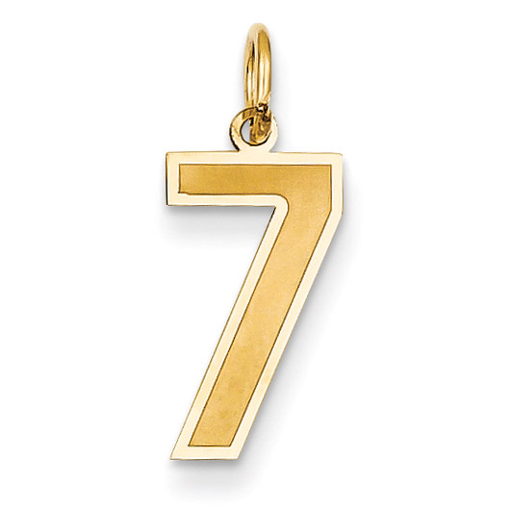 14k Medium Satin Number 1 Charm Length 20 Width 5