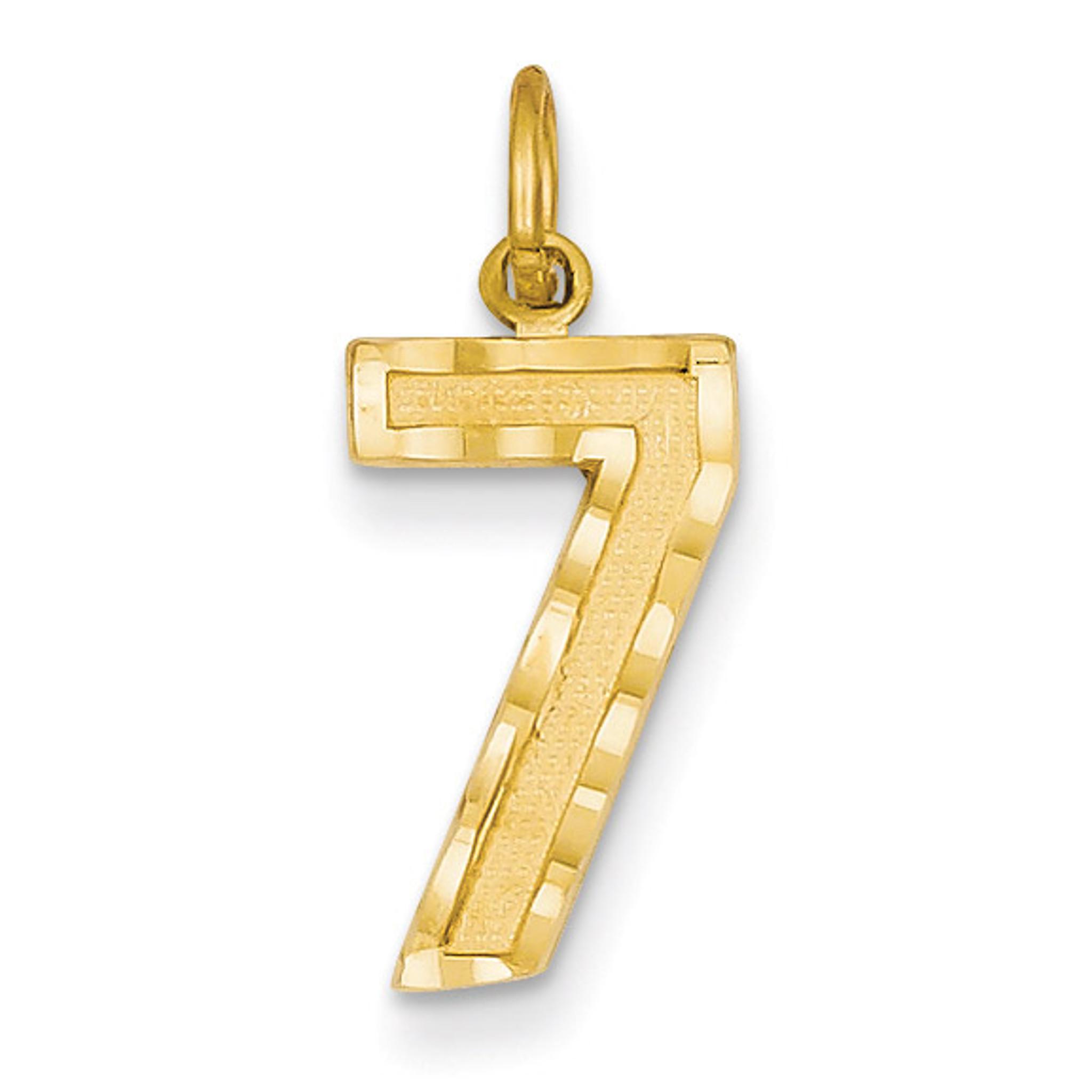 14k Yellow Gold Casted Medium Diamond-cut Number 1 Charm