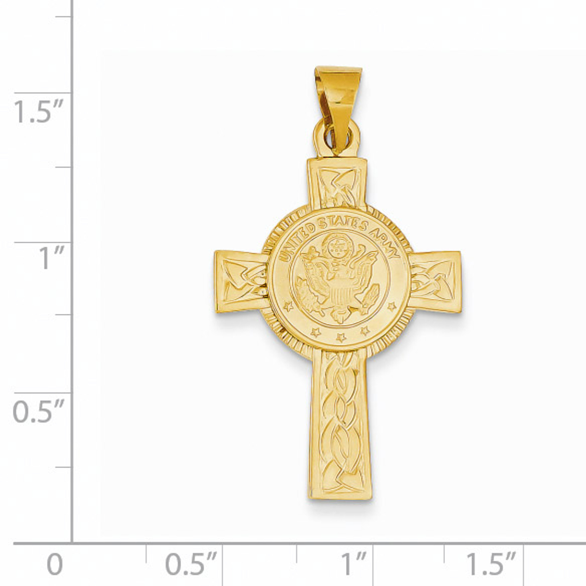 14K Yellow Gold Air Force Insignia Medal Cross Pendant