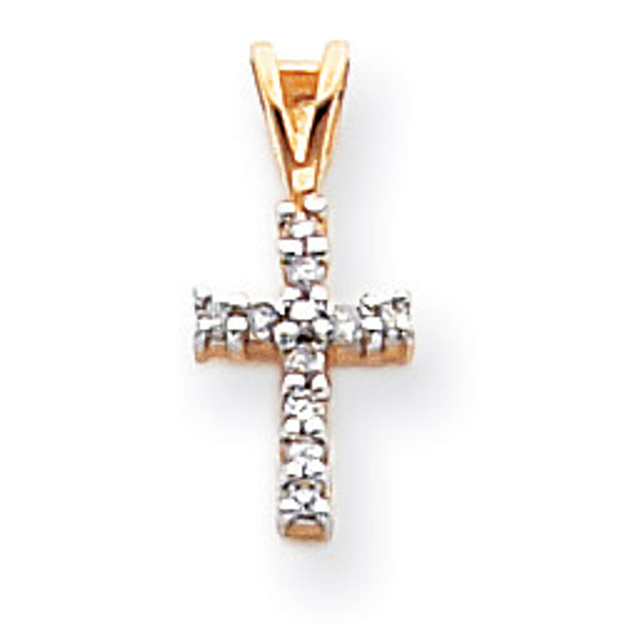 14K Diamond Cut Latin Cross Pendant