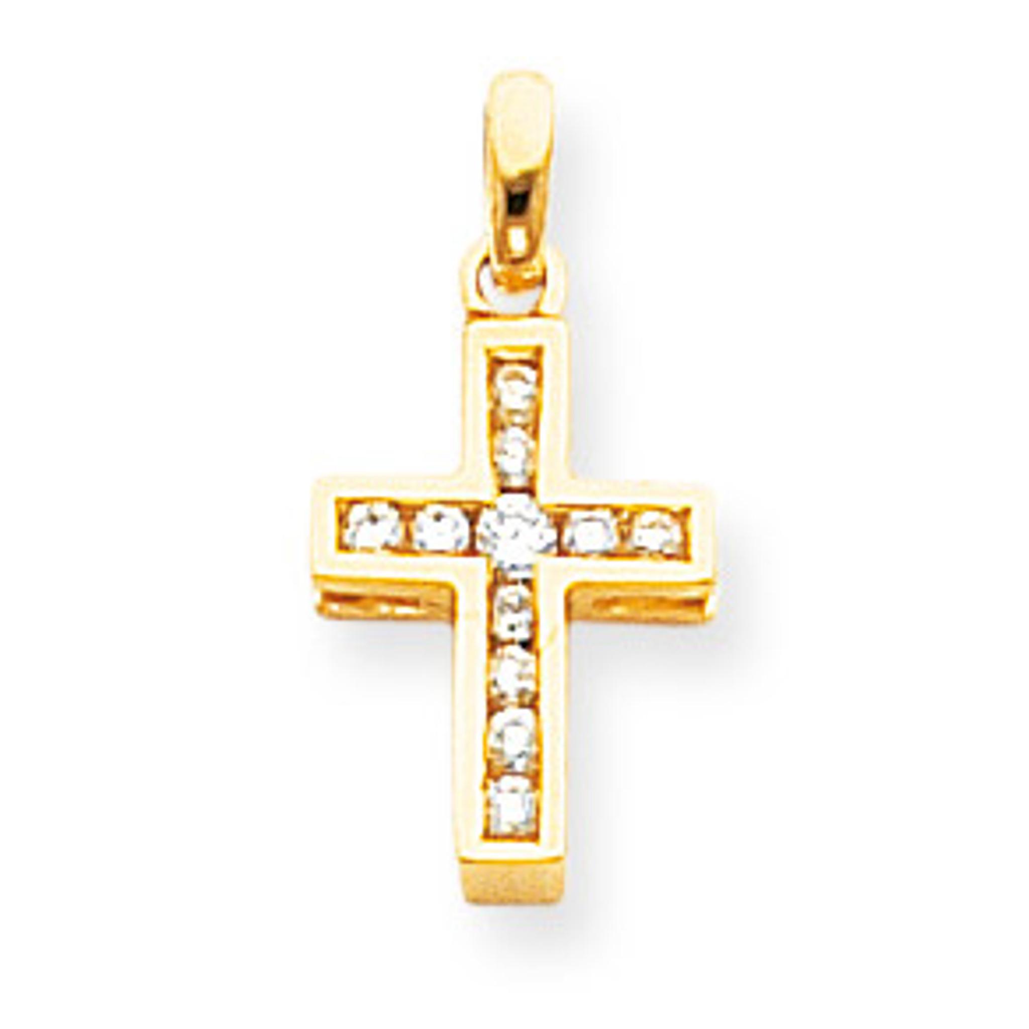 14K Yellow Gold Latin Cross Charm Pendant