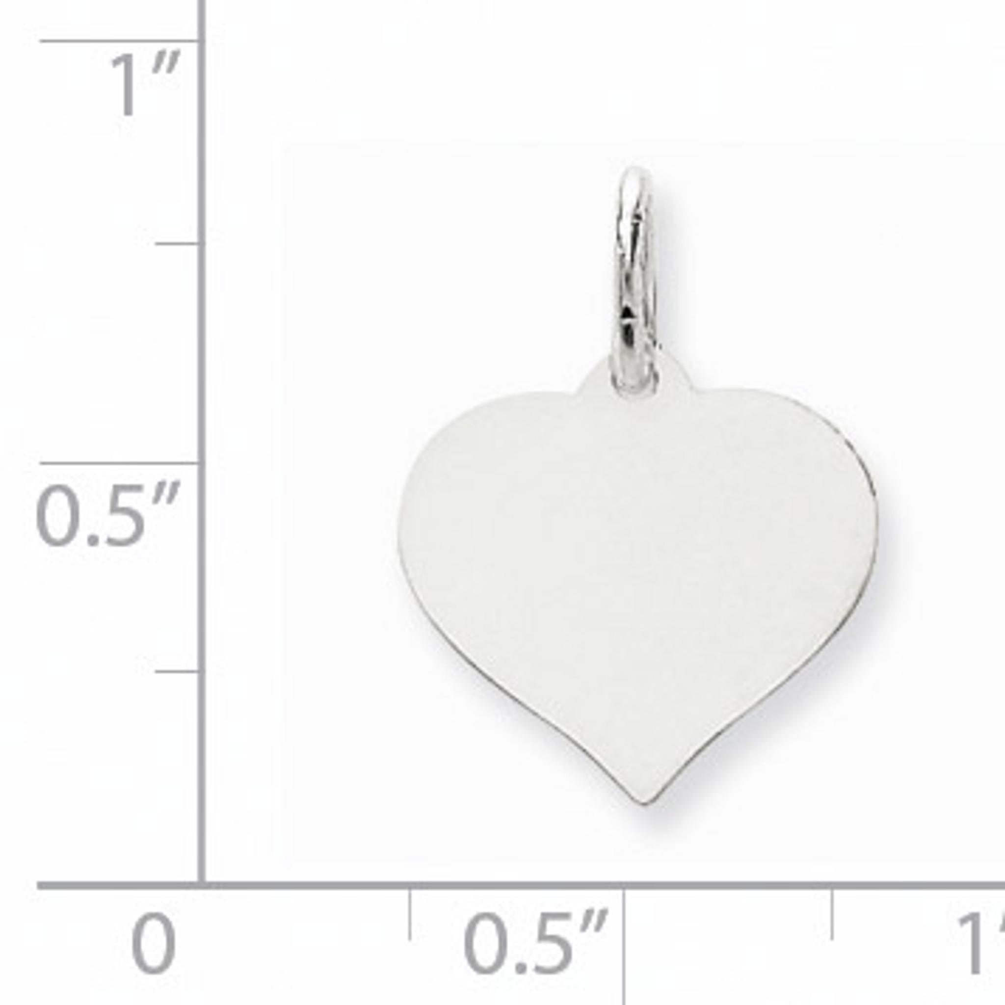 10mm x 14mm Jewel Tie 14k White Gold Heart Disc Pendant Charm