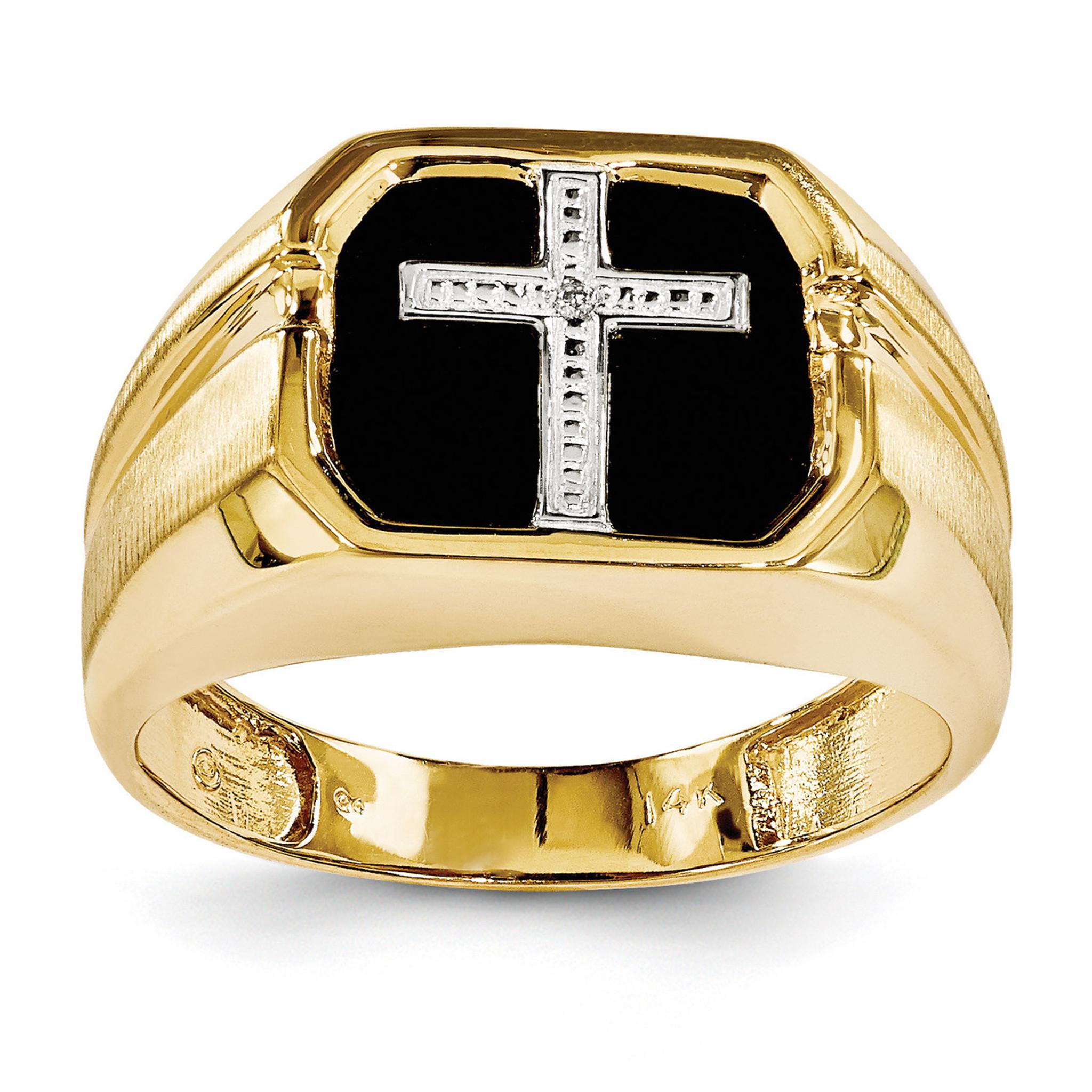 574211c518205 Diamond Men's Cross Ring 14k Gold Y1572AA