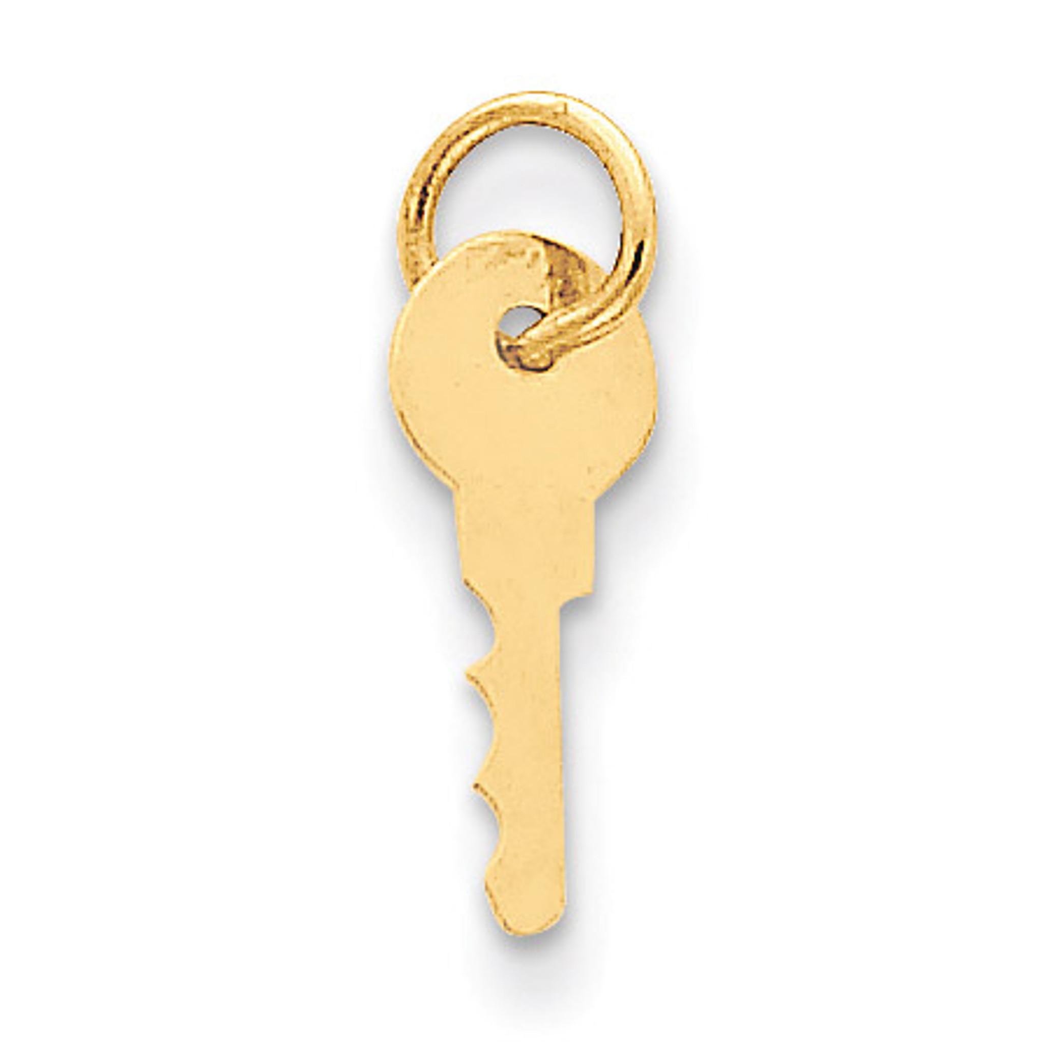 Solid 14k Yellow Gold C Key Charm Pendant 19mm x 4mm