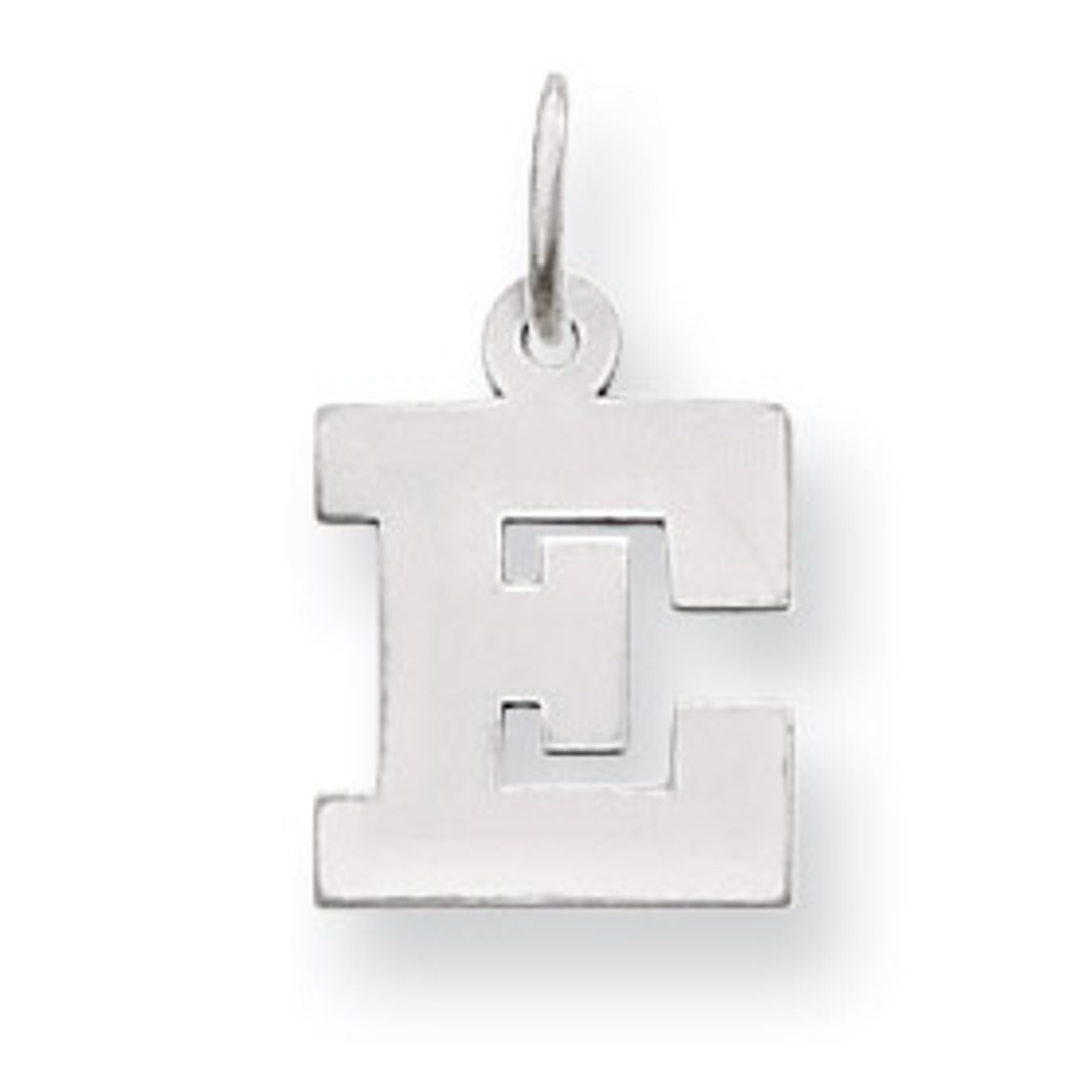 Solid 14k White Gold Small Block Initial S Pendant Charm