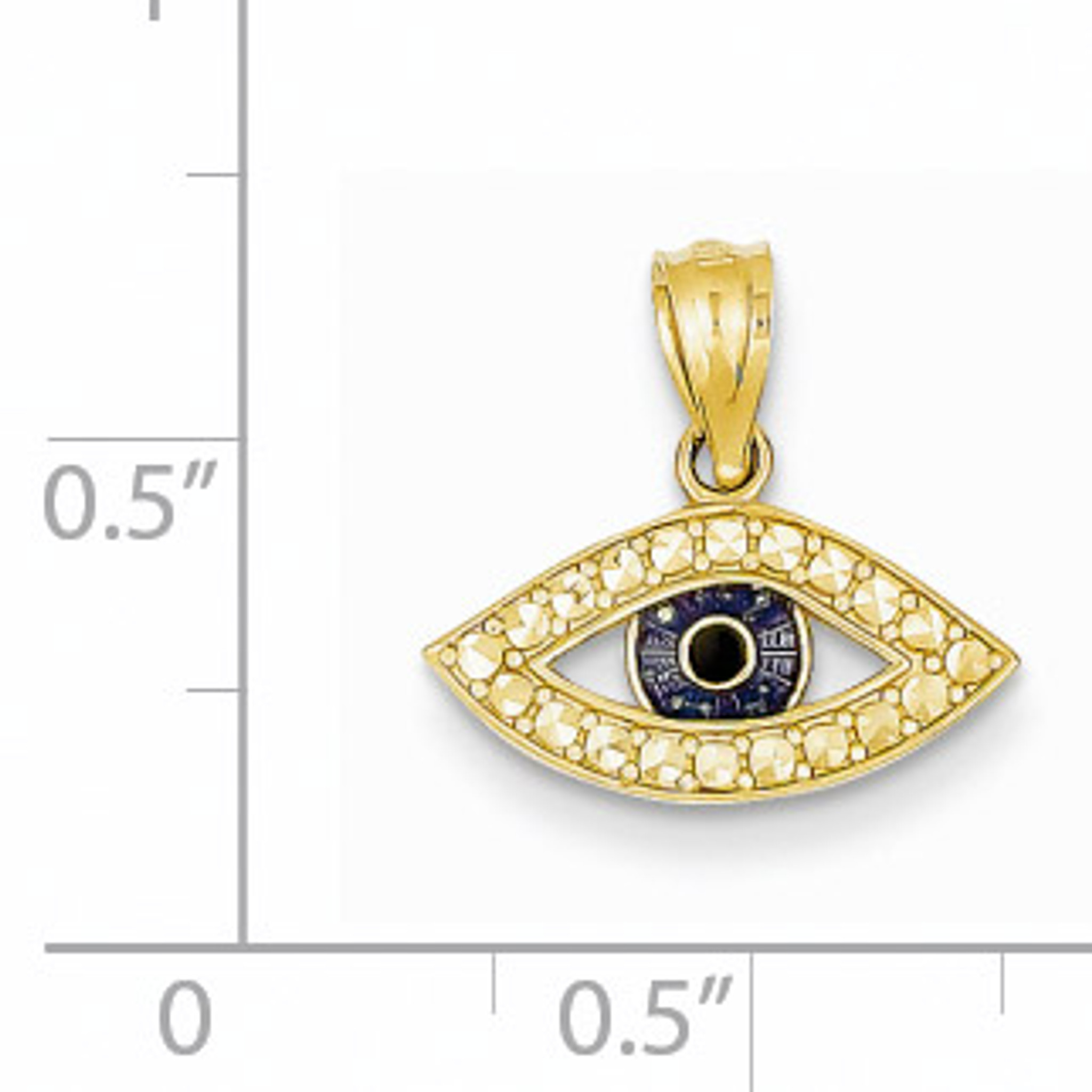 14k Polished Enameled Eye Pendant