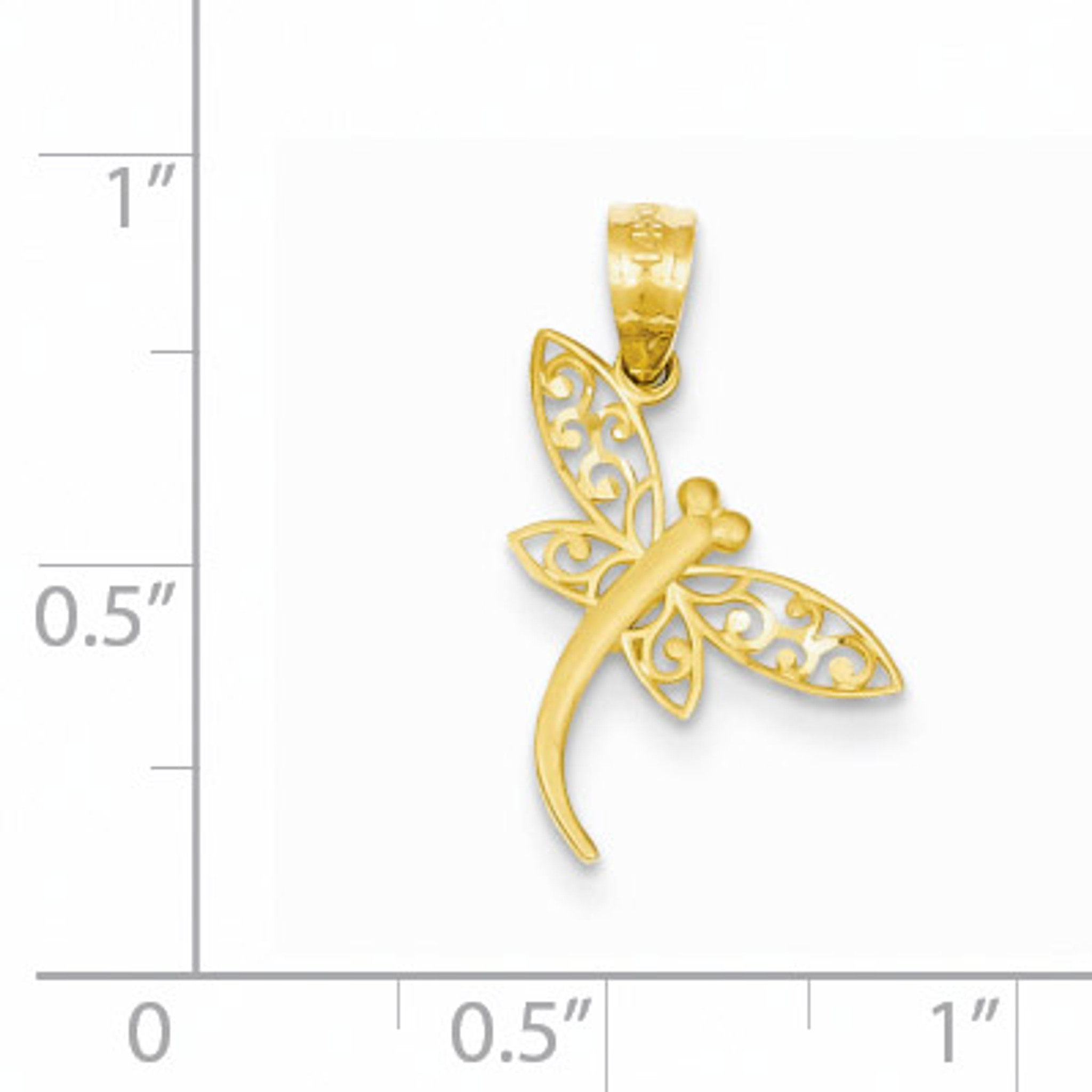 14k Yellow Gold Satin Dragonfly Pendant