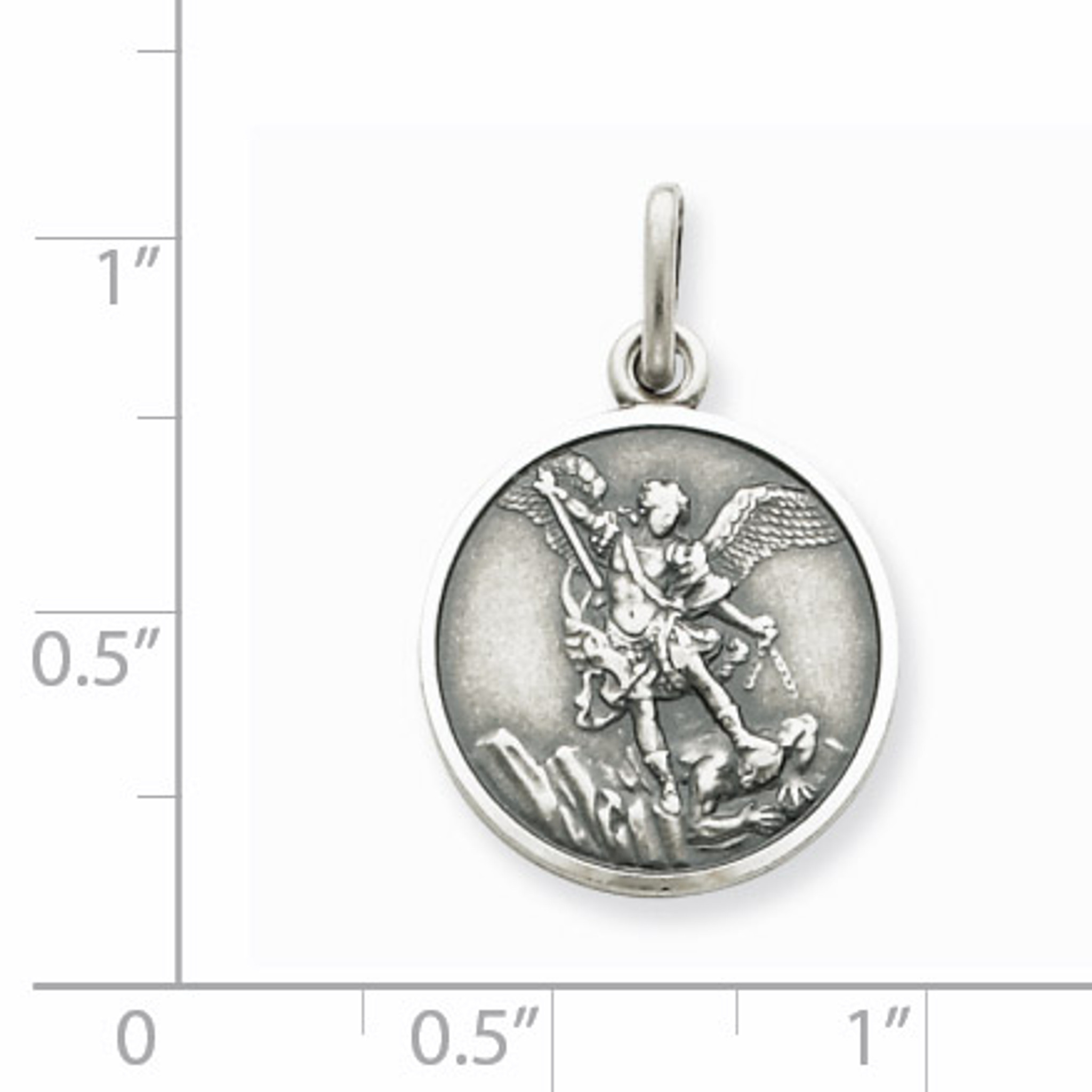 Sterling Silver Antiqued Saint Michael Medal Solid 20 mm 25 mm Themed Pendants /& Charms Jewelry
