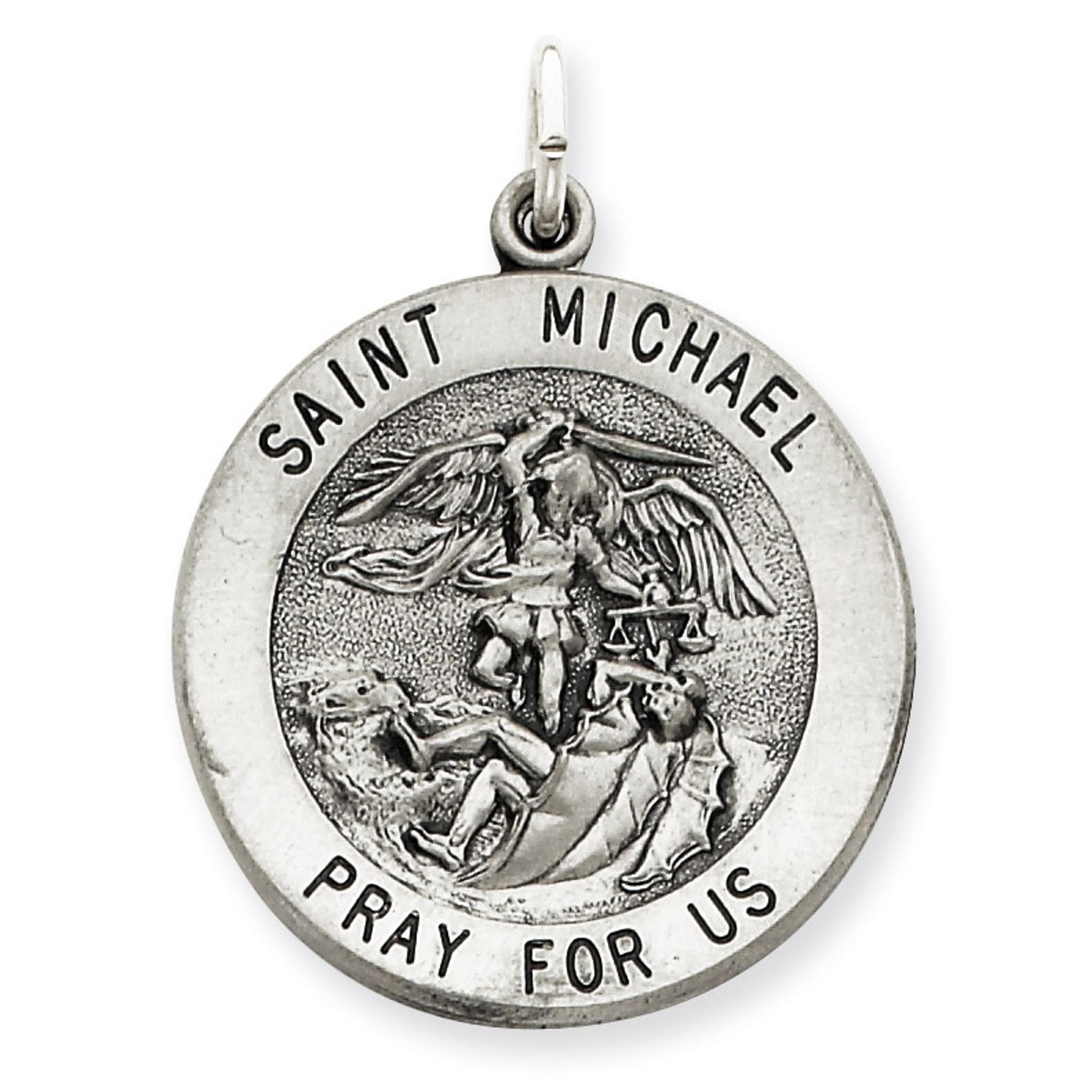 Sterling Silver Antiqued Saint Michael Navy Medal