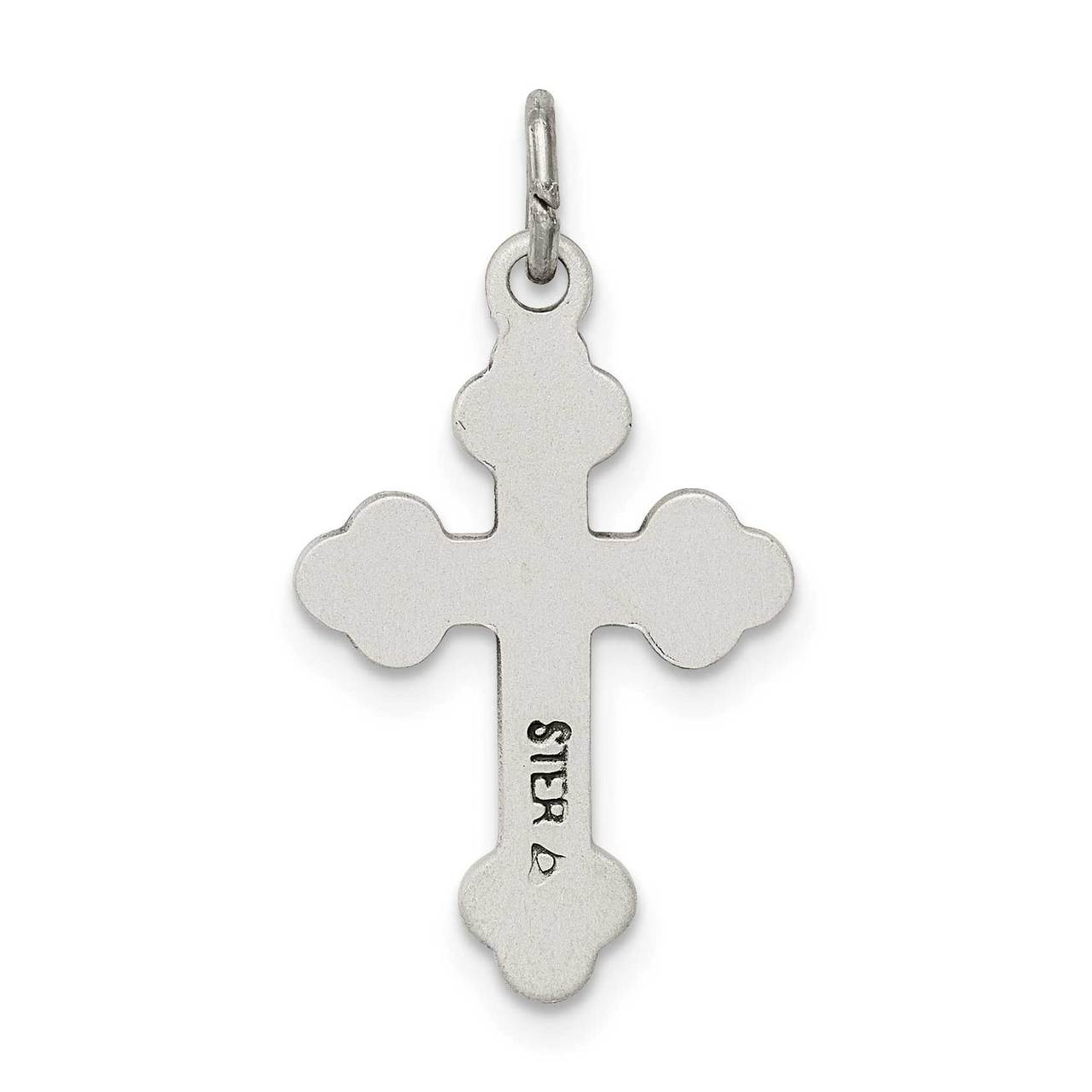 Antique Diamond-cut Solid Budded Cross Charm Pendant 925 Sterling Silver