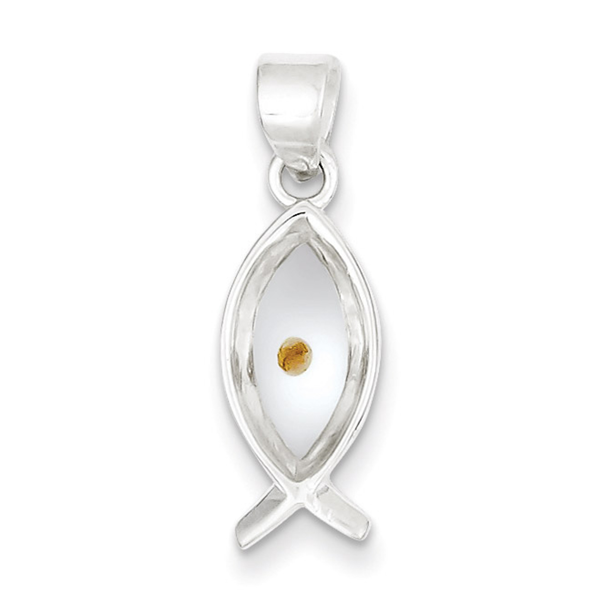 Details about  /.925 Sterling Silver Enameled with Mustard Seed Ichthus Fish Charm Pendant