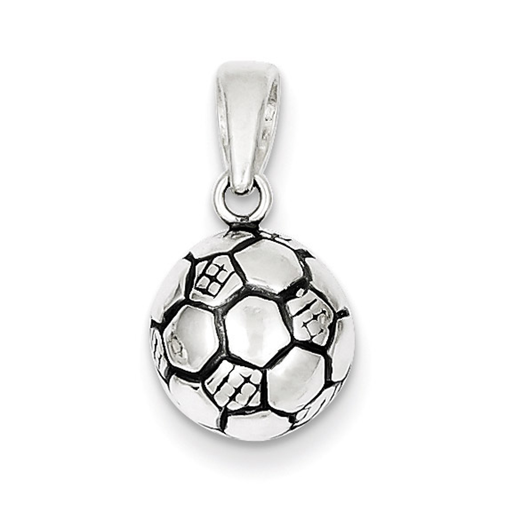 Sterling Silver Antiqued Soccer Ball Pendant