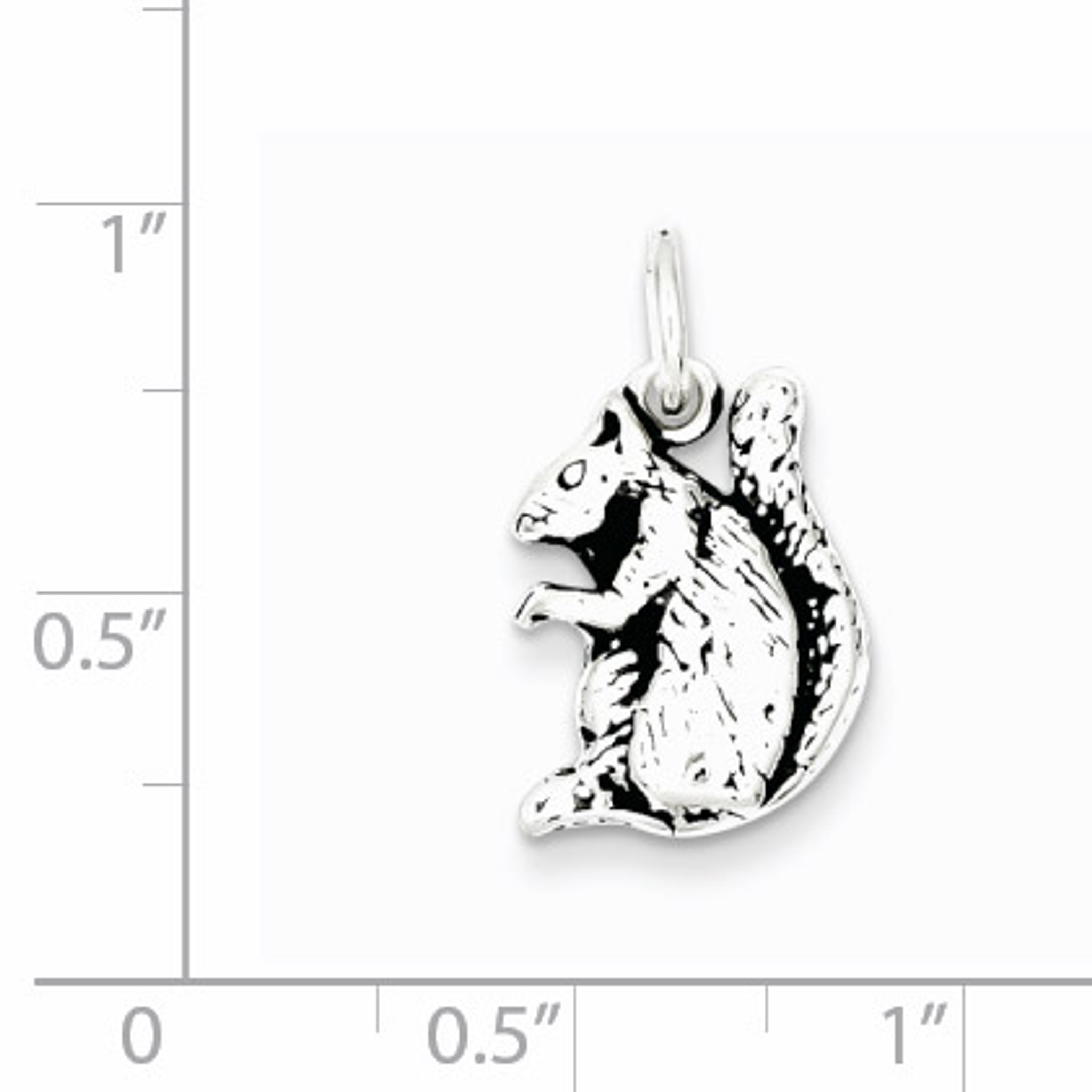 925 Sterling Silver Antiqued Squirrel Charm