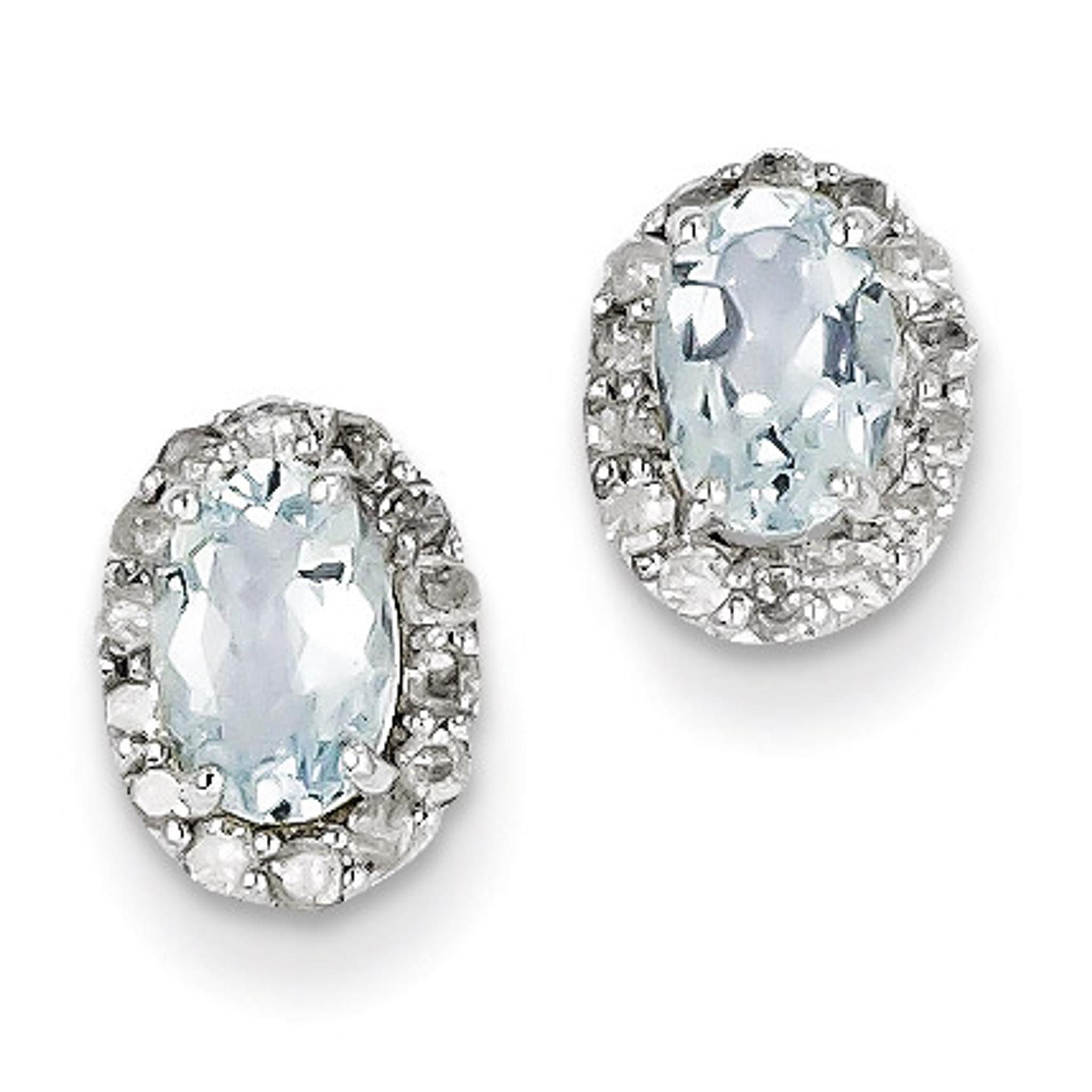 Sterling Silver Rhodium Plated Diamond Aquamarine Post Earrings