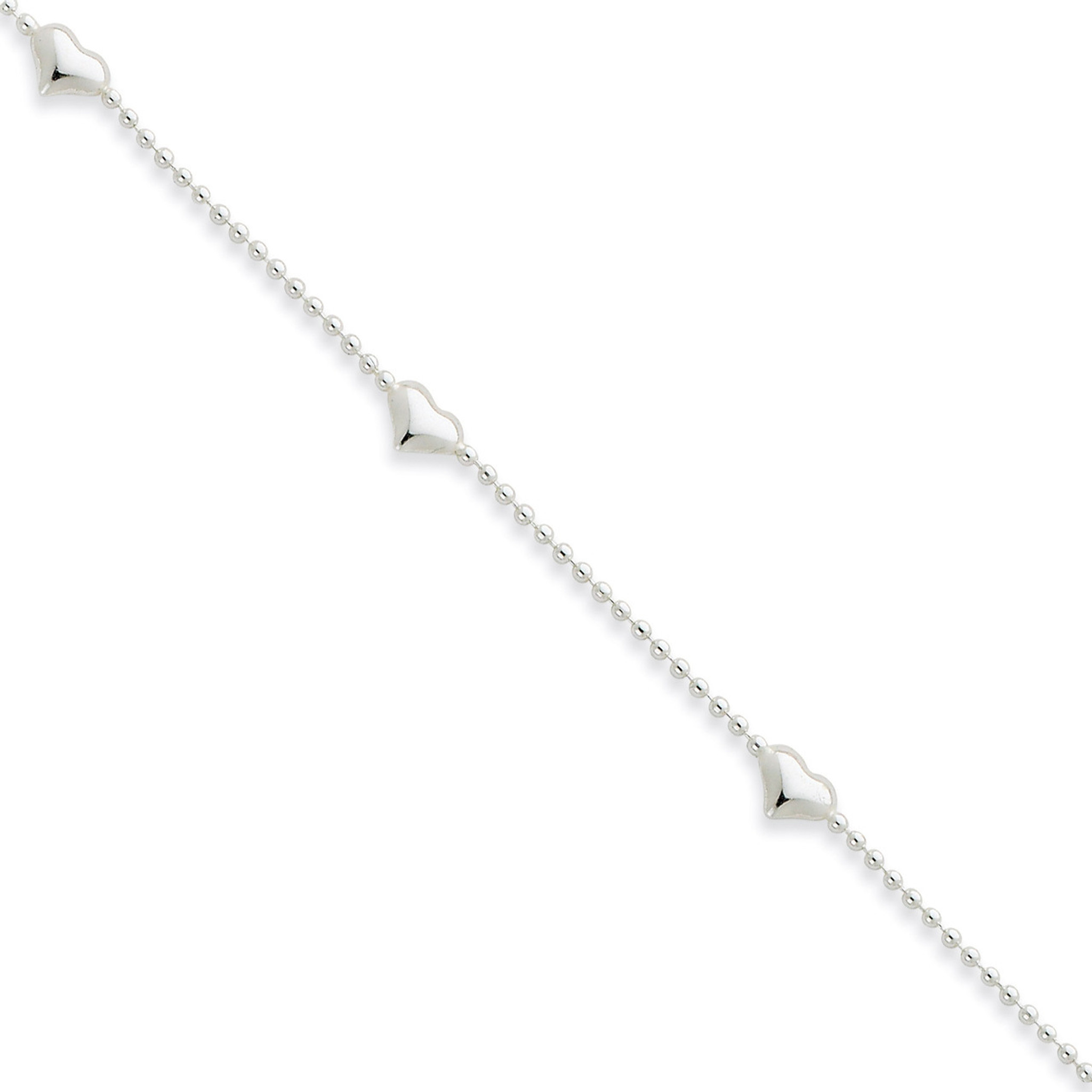 Sterling Silver Cherry Quartz /& Dangling Hearts on Figaro Link Anklet