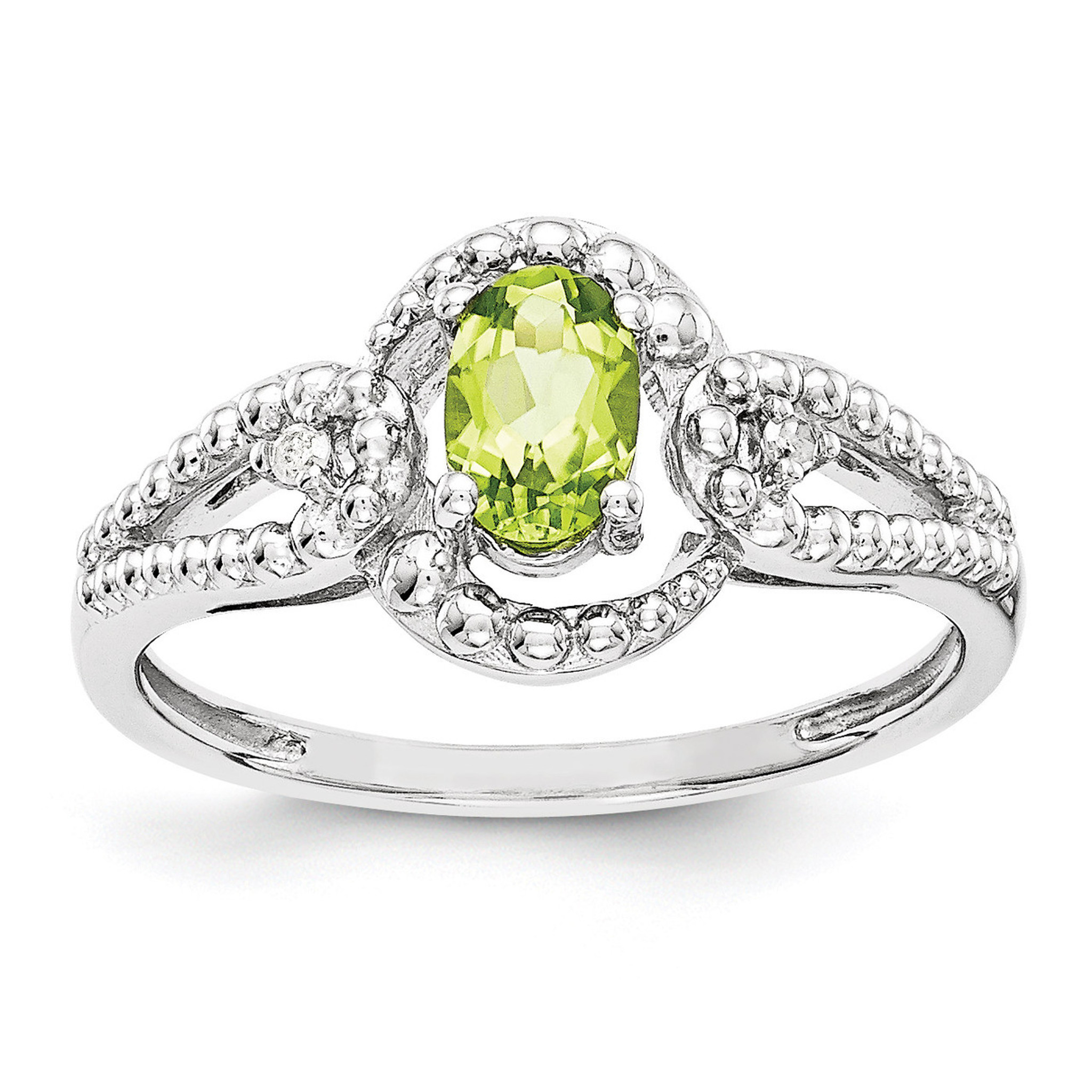 925 Sterling Silver Rhodium-finish Diamond /& Peridot August Stone Oval Pendant