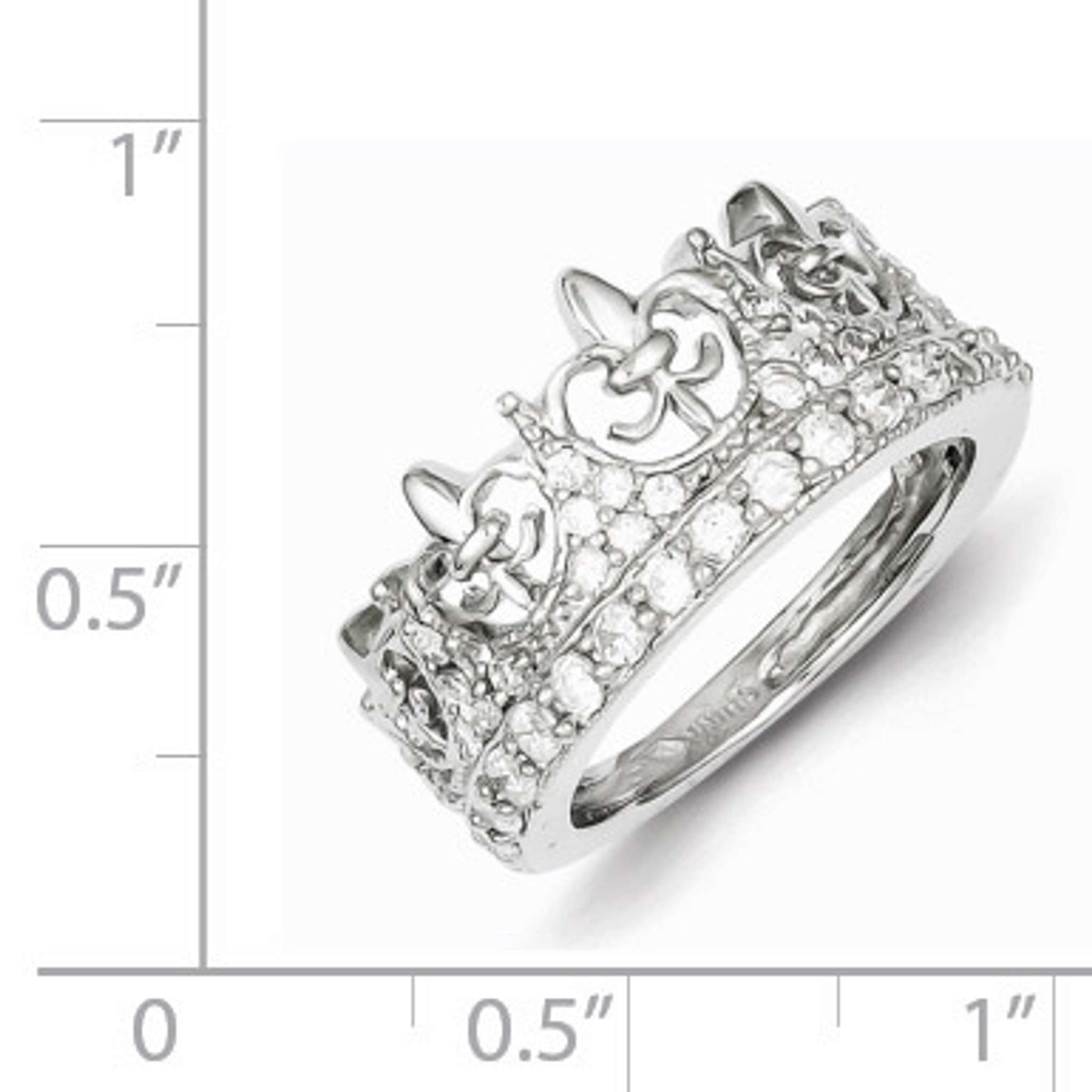 Clear Cubic Zirconia Fleur De Lis Ring Rhodium Plated Sterling Silver