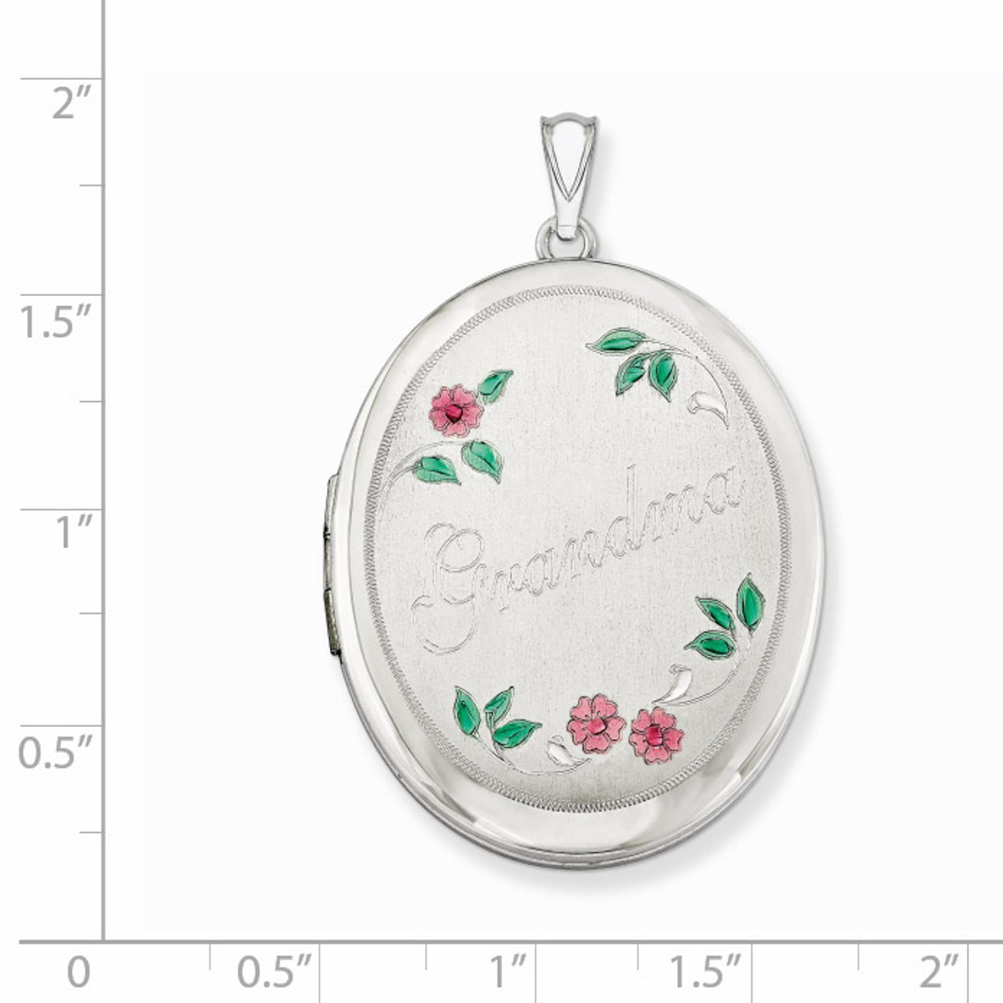 Sterling Silver With Enamel Flowers 19mm Oval Locket
