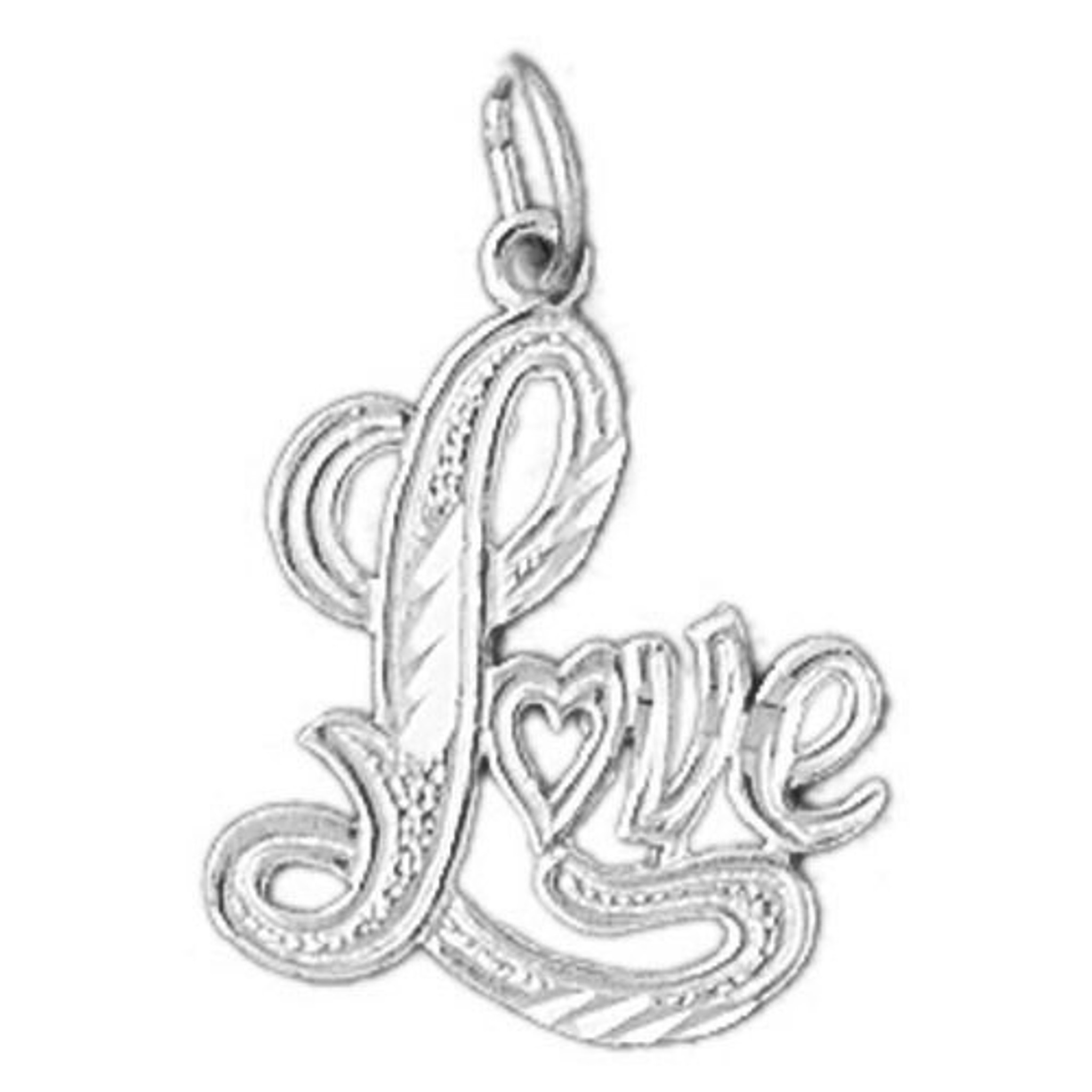 925 Sterling Silver Love Graphic Charm Made in USA