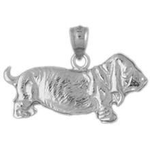 Basset Hound Dog Charm Bracelet or Pendant Necklace in Yellow, White or Rose Gold DZ-2110 by Dazzlers