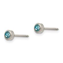 4mm Aqua Crystal Bezel Earrings Titanium 18E