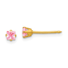 3mm Square Pink Ice Earrings 14k Gold 470E