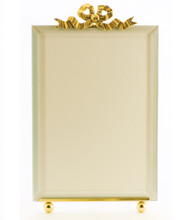 La Paris Large French Bow 4 x 6 Inch Brass Picture Frame - Vertical