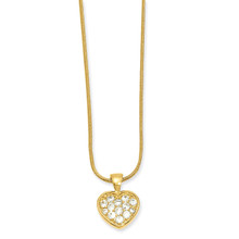 18 inch Gold-plated Diamond Pave Heart Necklace MPN: KW620-18