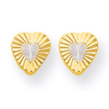 14k Gold Madi K Diamond Heart Post Earrings MPN: SE2226