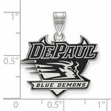 With measurement & size DePaul University Enamel Large Pendant Sterling Silver SS013DPU