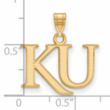 With measurement & size University of Kansas Small Pendant 14k Yellow Gold 4Y051UKS