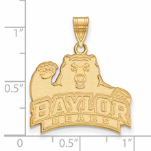 With measurement & size Baylor University Large Pendant Gold-plated Silver GP004BU
