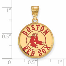 Boston Red Sox Large Enamel Pendant Gold-plated Silver GP032RSO Image Next to Ruler