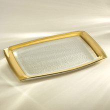 Annieglass Gold Roman Antique Rectangular Tray 11 x 18 Inch MPN: G117