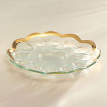 Annieglass Gold Roman Antique Deviled Egg Platter 11 1/2 Inch MPN: G216