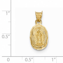 Diamond -cut Lady of Guadalupe Oval Pendant 14k Gold Polished K5643
