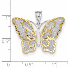 White Polished Filigree Butterfly Pendant 14k Gold & Rhodium K5987