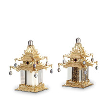 L'Objet Pagoda Salt and Pepper Shakers Gold Fresh Water Pearls Yellow Crystals Salt And Pepper Shaker MPN: SP6501