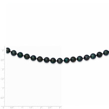 24 Inch 7-8mm Round Black Saltwater Akoya Cultured Pearl Necklace 14k white Gold PLB70-24