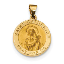 Satin Saint Catherine Hollow Medal Pendant 14k Gold Polished MPN: XR1682